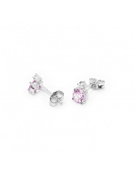 9ct White Gold girl pink Earrings