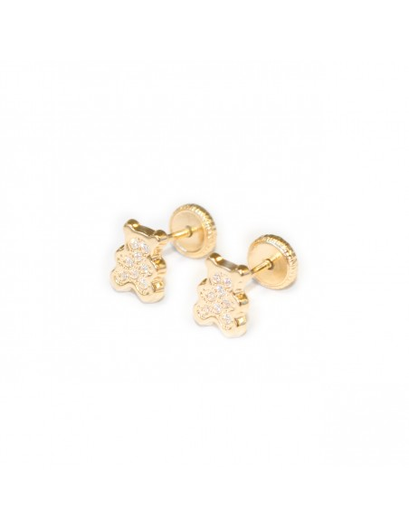 18ct Yellow Gold teddy Children's Earrings