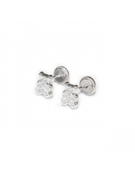 18ct White Gold teddy Baby Earrings