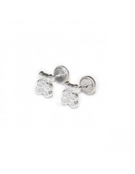 18ct White Gold teddy Baby Earrings