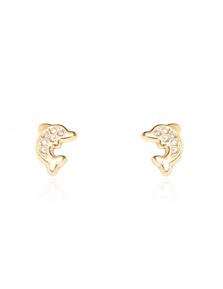 18ct Yellow Gold dolphin Children's Earrings