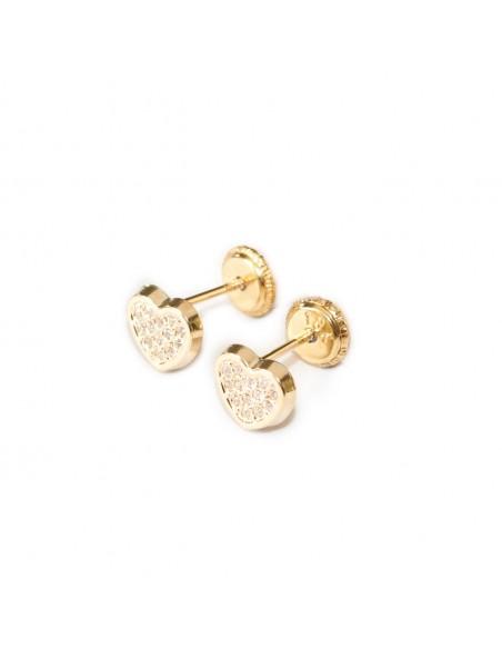 9ct Yellow Gold heart Children's Earrings