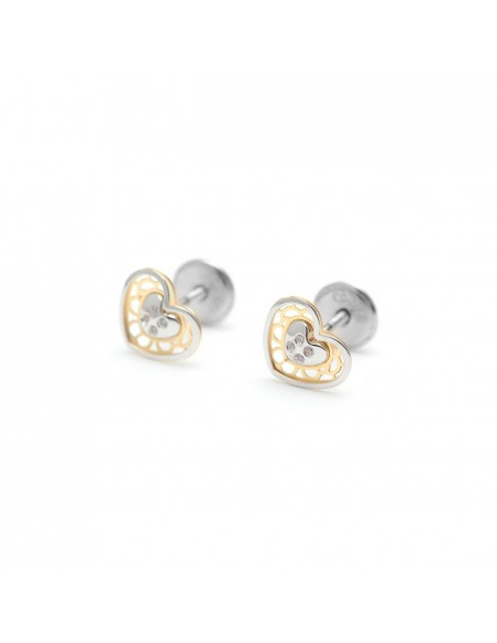 18ct 2 Colour Gold heart Children's Earrings
