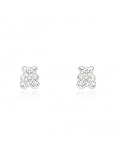 9ct White Gold Teddy Baby Earrings