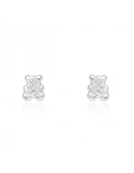 9ct White Gold teddy Baby Earrings