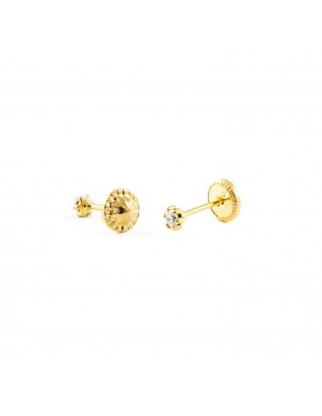 9ct Yellow Gold zircon Children's Earrings