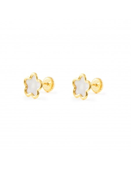 9ct Yellow Gold Flower nacre Children's Earrings