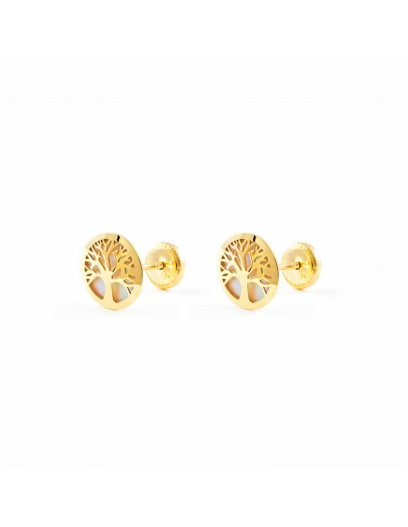 9ct Yellow Gold Life Tree nacre Children's Earrings