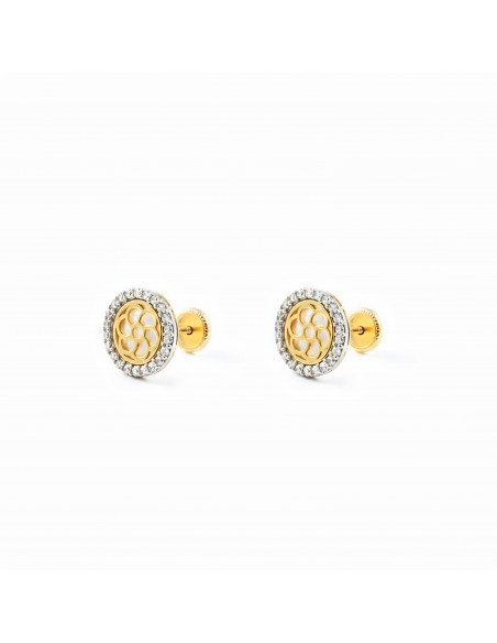 9ct 2 Colour Gold round nacre Children's Earrings