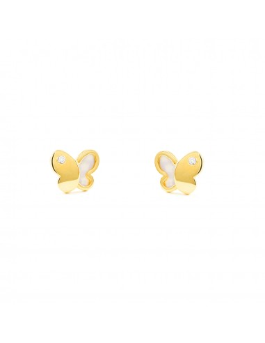 9ct Yellow Gold butterfly nacre Children's Earrings