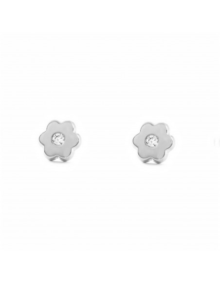 Boucles d'Oreilles Enfant fleur Or Blanc 9 Carats