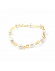18ct Yellow Gold bear and pearl Bracelet