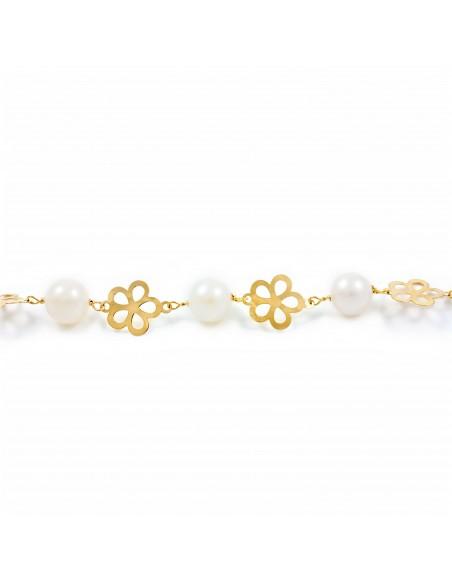 Pulsera Niña oro flor 5 petalos con perlas