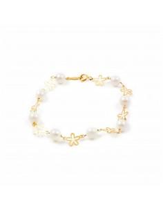 Pulsera Niña oro flor petalos con perlas