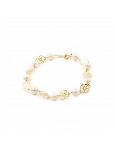 Pulsera Niña oro flor 6 petalos con perlas