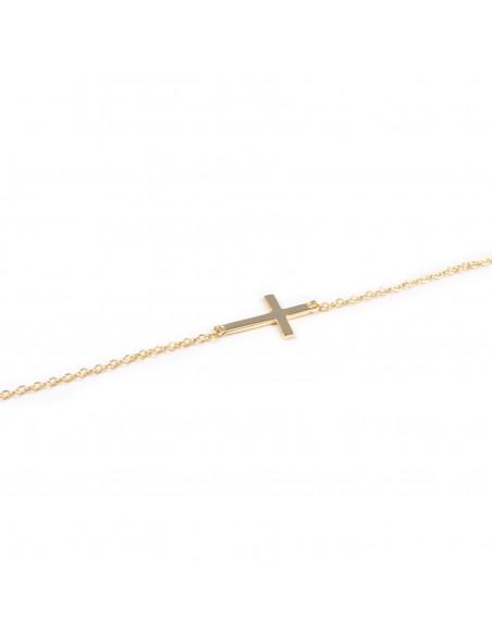 Collar Plata Dorada con cruz horizontal