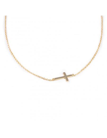 Collier croix jaune horizontale en Argent 925