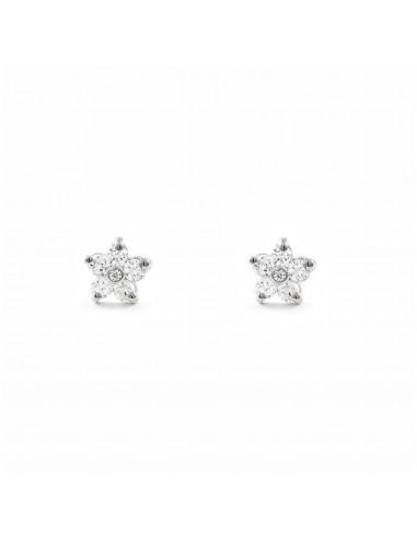 9ct White Gold Flower Children's zirconia Earrings