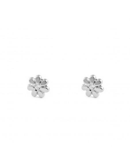 9ct White Gold flower Children's Earrings