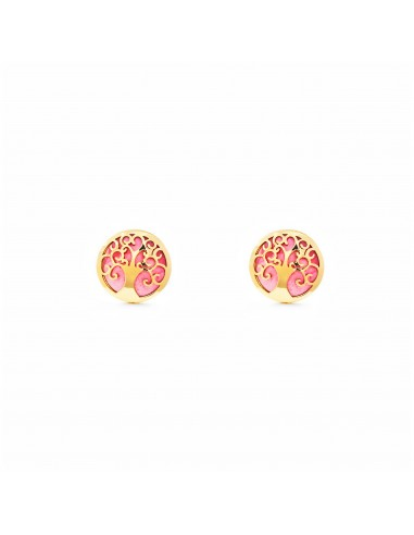 9ct Yellow Gold Life Tree pink nacre Children's Earrings
