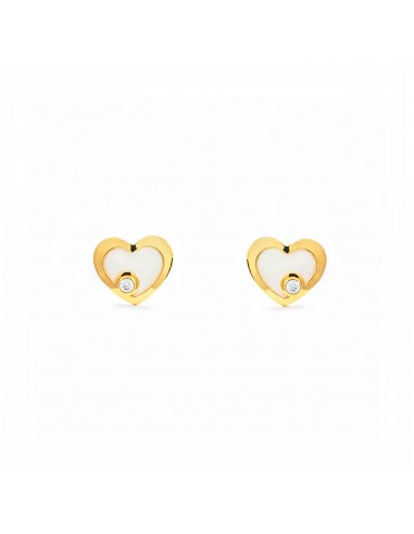 9ct Yellow Gold heart Children's Earrings BZftSRD
