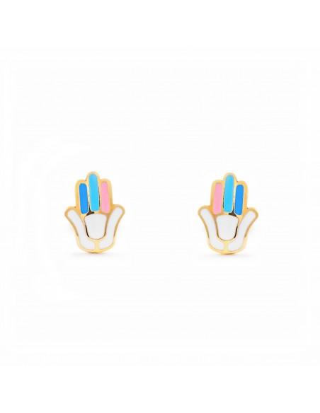 9ct Yellow Gold Enamel Fatima Hand Children's Earrings