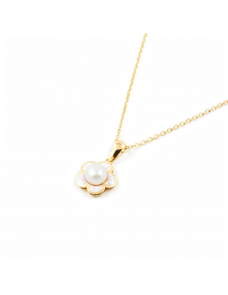 9ct Yellow Gold daisy flower and pearl Children's Pendant