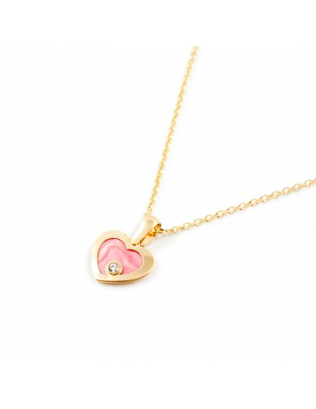 9ct Yellow Gold heart with pink mother-of-pearl Children's Earrings