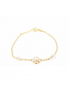 Bracelet enfant en émail fleur et perle Or Jaune 9 Carats