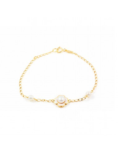 9ct Yellow Gold Enameled flower and pearl bracelet