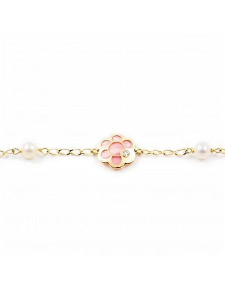 Pulsera Oro Flor con nacar rosa y circon (9kts)