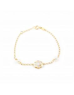 Bracelet Enfant fleur avec nacre Or Jaune 9 Carats