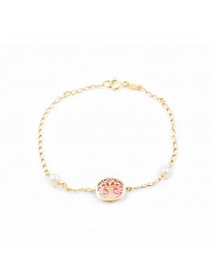 Bracelet Arbre de la vie nacre rose Or Jaune 9 Carats