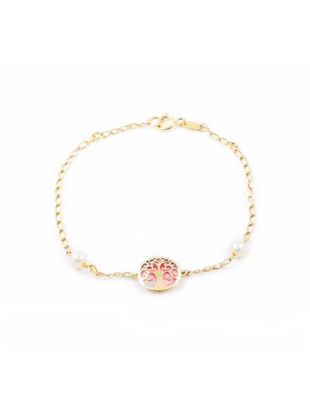 9ct Yellow Gold Life Tree pink nacre Children's Bracelet