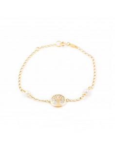 Bracelet Enfant Arbre de la vie nacre Or Jaune 9 Carats
