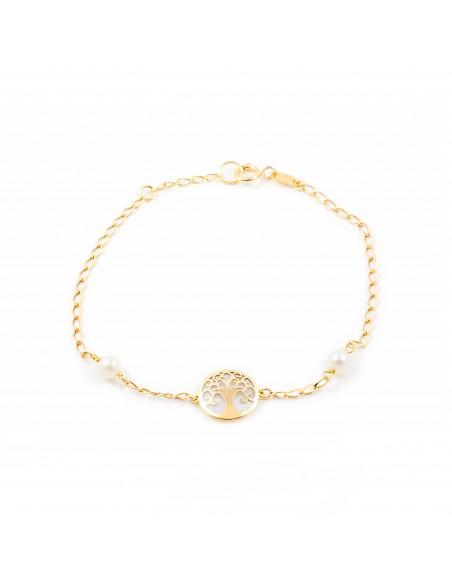 9ct Yellow Gold Life Tree nacre Children's Bracelet