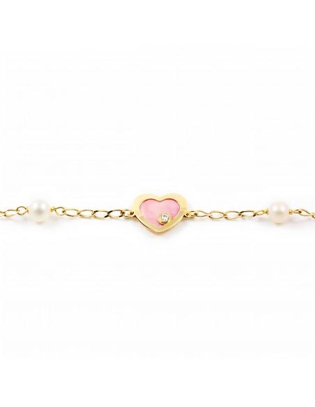 Pulsera Oro Corazón con nacar rosa y circon (9kts)