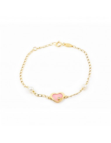 9ct Yellow Gold Heart With Pink Mother Of Pearl Children S Bracelet