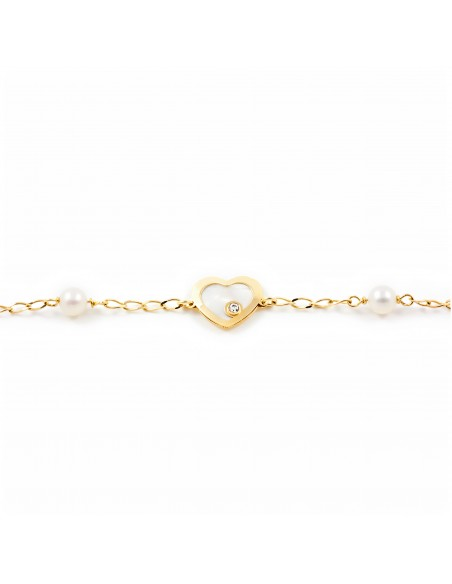 9ct Yellow Gold heart with mother-of-pearl Children's Bracelet