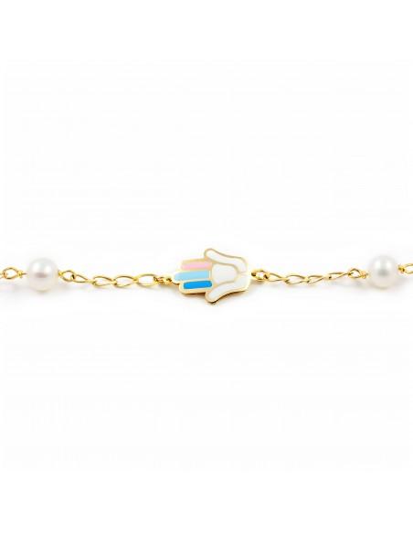 9ct Yellow Gold Enamel Fatima Hand Children's Bracelet