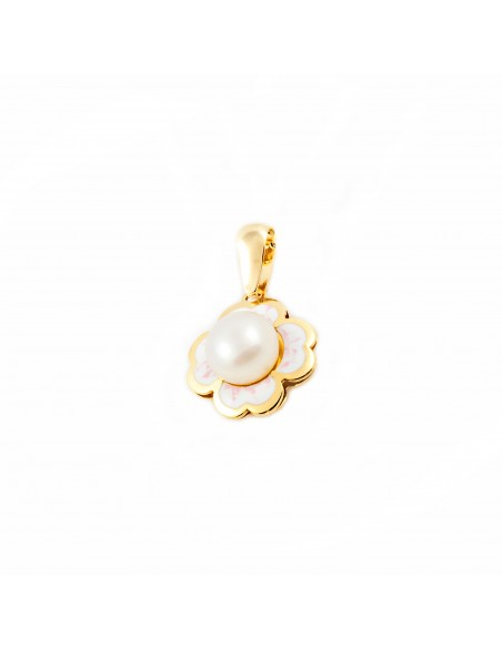 9ct Yellow Gold Enameled flower and pearl pendant