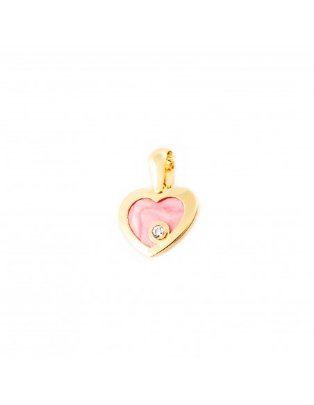 9ct Yellow Gold heart with pink mother-of-pearl Children's Pendant