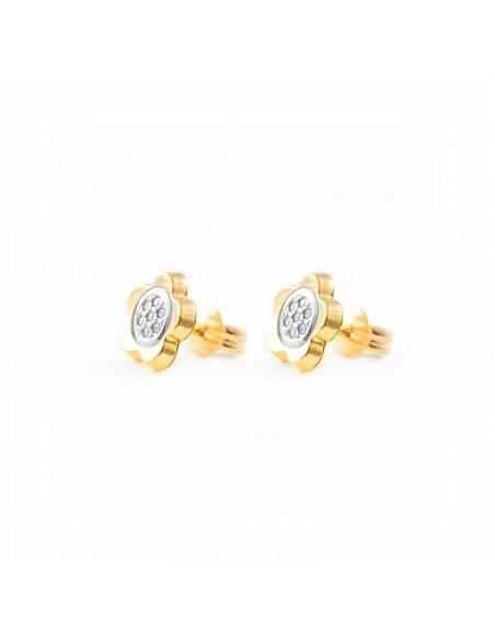 9ct 2 Colour Gold daisy flower Earrings