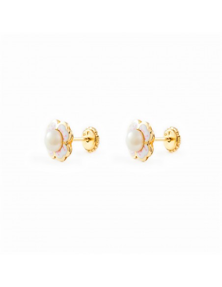 9ct Yellow Gold Enameled flower and pearl Children's Earrings