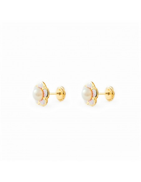 9ct Yellow Gold daisy flower and pearl Children's Earrings