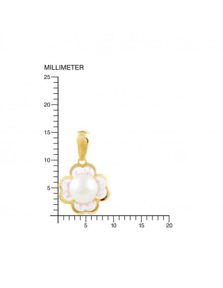 Colgante Oro Flor Esmalte con Perla (9kts)