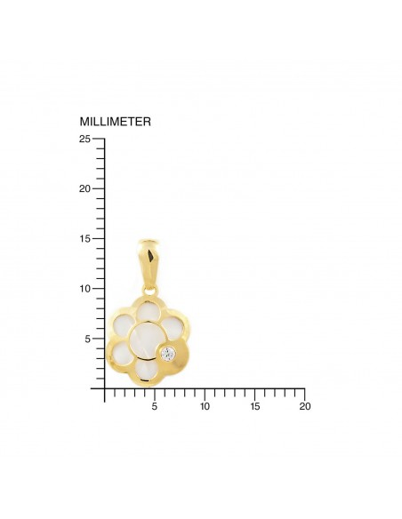 9ct Yellow Gold flower with mother-of-pearl Children's Pendant