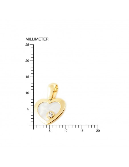 9ct Yellow Gold heart with mother-of-pearl Children's Pendant