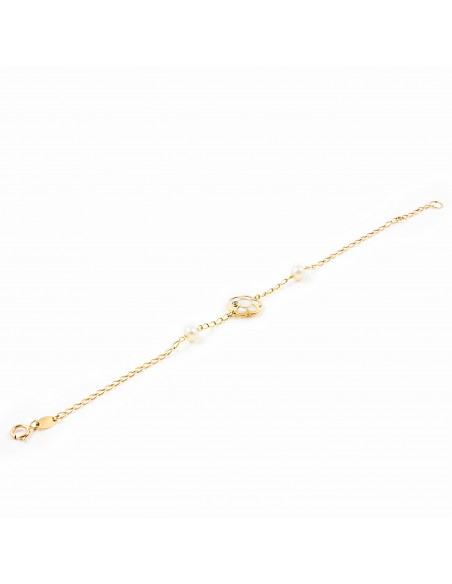 9ct Yellow Gold flower with mother-of-pearl Children's Bracelet