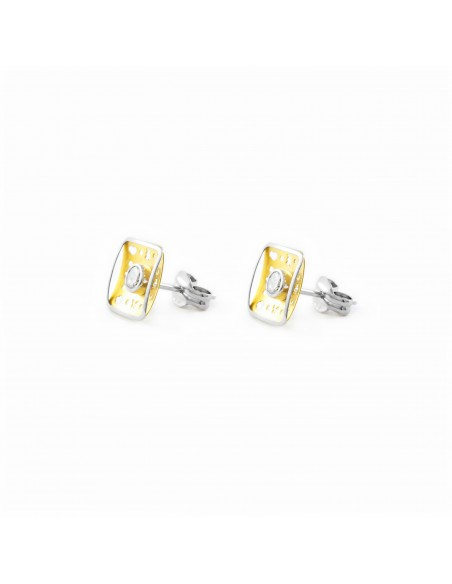 18ct 2 Colour Gold square Children's Earrings